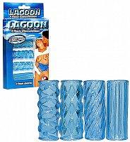 Sada 4 rôznych modrých návlekov na penis Lagoon