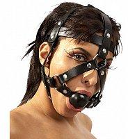Kožená nastaviteľná maska na hlavu s kolíkom Zado