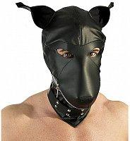 Psia maska s obojkom v imitácii čiernej kože