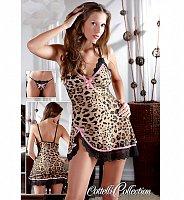 Leopardia košieľka z jemného materiálu + tangá s mašličkou Lea