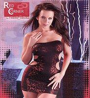 Elastické lesklé šaty Julie s krásnou potlačou a otvormi na bokoch červeno-čierne