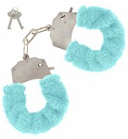 Kovové putá s modrým plyšom Toy Joy Furry Fun Cuffs Blue