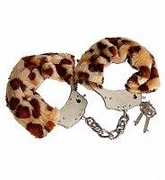 Kovové putá s plyšovým vzorom leoparda Luv-Bonds